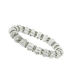1928® Bridal Silvertone Crystal Beaded Stretch Bracelet