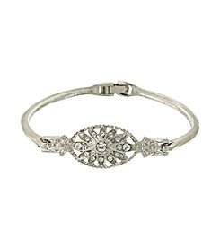 1928® Bridal Silvertone Crystal Bangle Bracelet