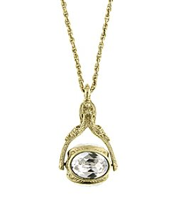 1928® Jewelry Goldtone Crystal 3-Sided Crystal Spinner Pendant Necklace 30