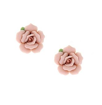 1928® Jewelry Porcelain Rose Button Earrings