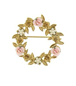 1928® Porcelain Rose Floral Wreath Brooch