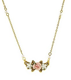 1928® Porcelain Rose Pearl Cluster Drop Pendant Necklace