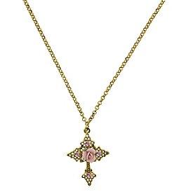 1928® Porcelain Rose Cross Pendant Necklace