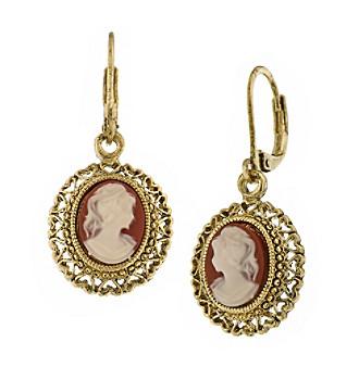 1928® Jewelry Vintage Escapade Carnelian Drop Earrings