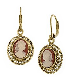 1928® Jewelry Vintage Escapade Carnelian Drop Earrings
