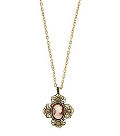 1928® Jewelry Victorian Era Cross Cameo Pendant