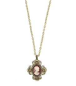 1928® Victorian Era Cross Cameo Pendant Necklace