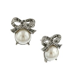 1928® Jewelry Pearl Marcasite Bow Stud Earrings
