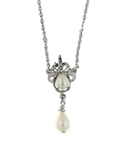 """1928® Marcasite Classics Marcasite and Pearl Drop Necklace 16"""" Adjustable"""