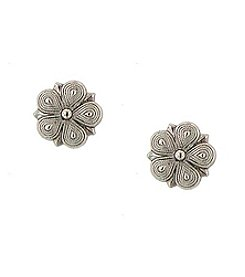 1928® Jewelry Vintage Silvertone Star Flower Stud Earrings