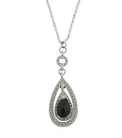 1928® Jewelry Silvertone Jet Teardrop Necklace