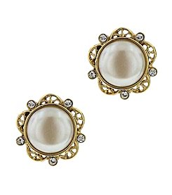 1928® Jewelry Her Majesties Crystal Pearl Button Earrings