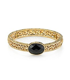1928® Jewelry Black Tie Affair Onyx and Gold Filigree Bracelet