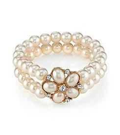 1928® Goldtone Pearl Crystal Flower Stretch Bracelet