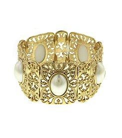 1928® Goldtone Pearl Stretch Cuff
