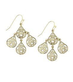 1928® Jewelry Goldtone Filigree Drop Wire Earrings