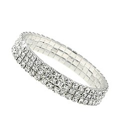 1928® Jewelry Silvertone 3-Row Crystal Rhinestone Stretch Bracelet