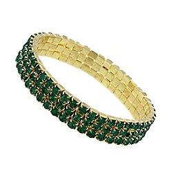 1928® Goldtone Emerald Green 3-Row Rhinestone Stretch Bracelet
