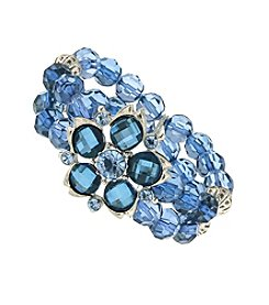 1928® Silvertone Blue Beaded Flower Stretch Bracelet