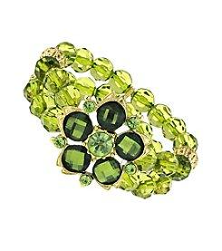 1928® Goldtone Green Beaded Flower Stretch Bracelet