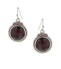 1928® Jewelry Silvertone Amethyst Round Faceted Drop Earrings