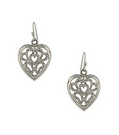 1928® Jewelry Silvertone Filigree Heart Drop Earrings