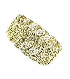 1928® Goldtone Half Circle Filigree Stretch Bracelet