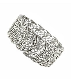 1928® Jewelry Silvertone Half Circle Filigree Stretch Bracelet
