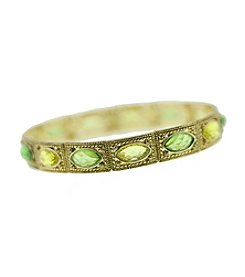 1928® Brass Peridot Jonquil Green Stretch Bracelet