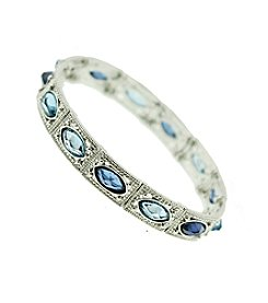 1928® Jewelry Silvertone Sapphire Blue Stretch Bracelet