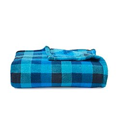 LivingQuarters Teal Check Micro Cozy Throw