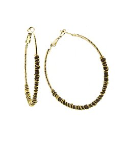 T.R.U™ Wrapped Walnut Brown Brass Hoop Earrings