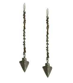 T.R.U™ Wax Linen Wrap Long Arrowhead Earrings