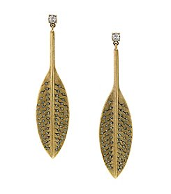 T.R.U™ Solid Drop Crystal Feather Earrings