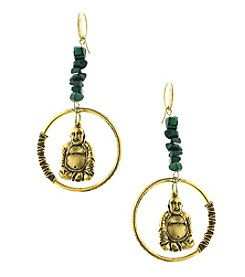 T.R.U™ Sitting Buddha Hoop Drop Earrings