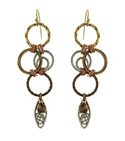 T.R.U™ Mixed Metal Tiger Eye Jump Ring Earrings