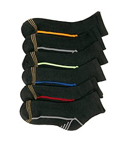 GOLD TOE® Boys' 6-pack Assorted Black Quarter Socks