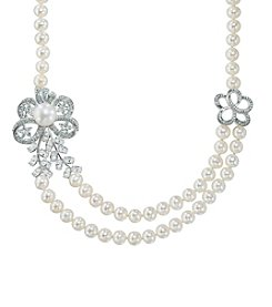 Freshwater Pearl Crystal Necklace in Sterling Silver