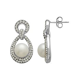 Freshwater Pearl Crystal Earrings in Sterling Silver