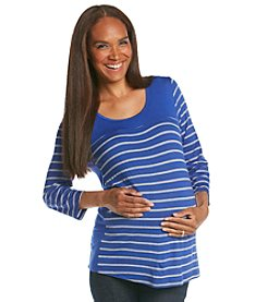 Three Seasons Maternity™ 3/4 Sleeve Solid Yoke Side Stripe Top