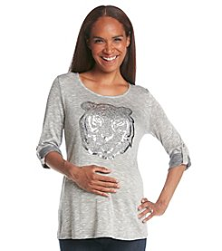 Three Seasons Maternity™ 3/4 Roll Cuff Lion Face Top