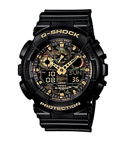 G-Shock XL Ana-Digi Watch in Black Resin with Camo Face