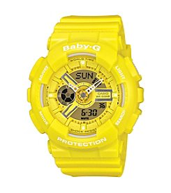 Baby-G Ana-Digi Watch in Yellow Resin with Yellow Dial