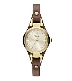 Fossil® Women's Georgia Mini Watch in Goldtone with Brown Leather Strap