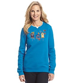 Breckenridge® Embroidered Fleece Crewneck - Feather Friends