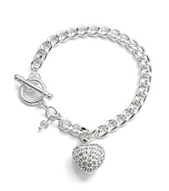 Napier® Boxed Silvertone and Simulated Crystal Heart Charm Bracelet