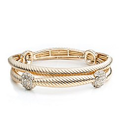 Napier® Boxed Set of Goldtone and Simulated Crystal Bracelets