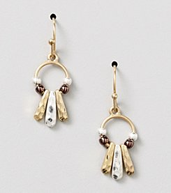 Nine West Vintage America Collection® Tri-Tone Metal Orbital Drop Pierced Earrings