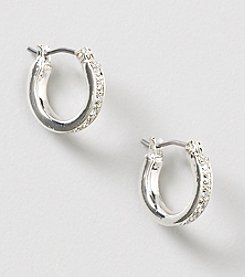 Nine West® Shiny Silvertone/Crystal Small Pave Hoop Pierced Earrings