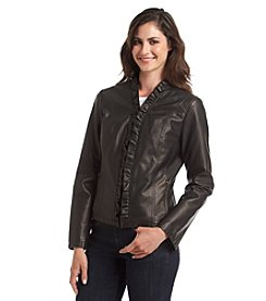 Giacca Faux Leather Scuba With Ruffle Front Jacket